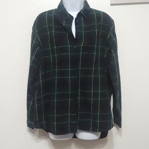 Madewell button down flannel green/yellow sz M